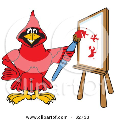 Royalty-Free (RF) Clipart Illustration of a Red Cardinal Character School Mascot Painting a Canvas by Toons4Biz