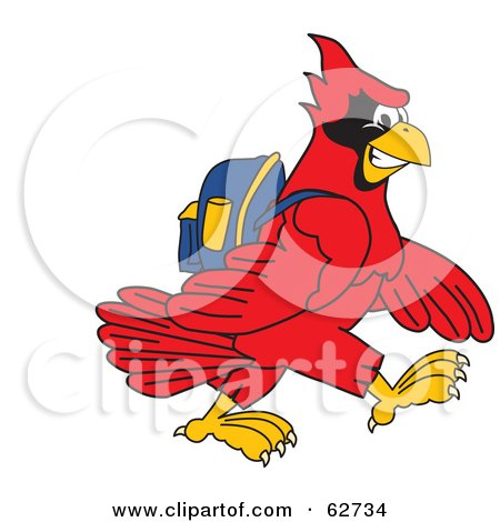 Royalty-Free (RF) Clipart Illustration of a Red Cardinal Character School Mascot Walking to School by Toons4Biz