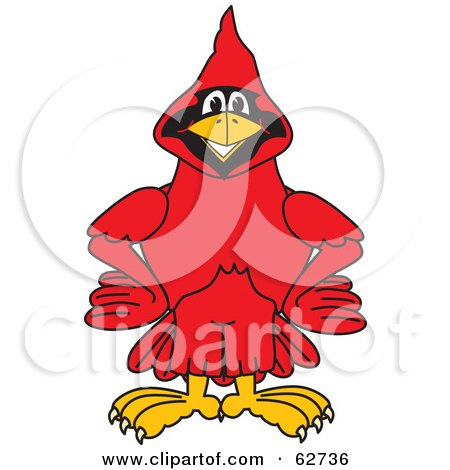 Royalty-Free (RF) Clipart Illustration of a Red Cardinal Character School Mascot With His Hands on His Hips by Toons4Biz