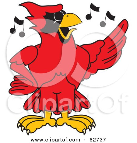 Royalty-Free (RF) Clipart Illustration of a Red Cardinal Character School Mascot Singing by Toons4Biz