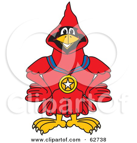 Royalty-Free (RF) Clipart Illustration of a Red Cardinal Character School Mascot Wearing a Medal by Toons4Biz