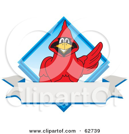 Royalty-Free (RF) Clipart Illustration of a Red Cardinal Character School Mascot Blue Diamond Banner Logo by Toons4Biz