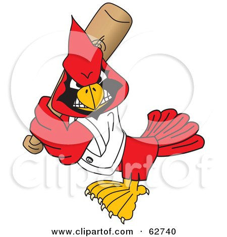 Royalty-Free (RF) Clipart Illustration of a Red Cardinal Character School Mascot Playing Baseball by Toons4Biz