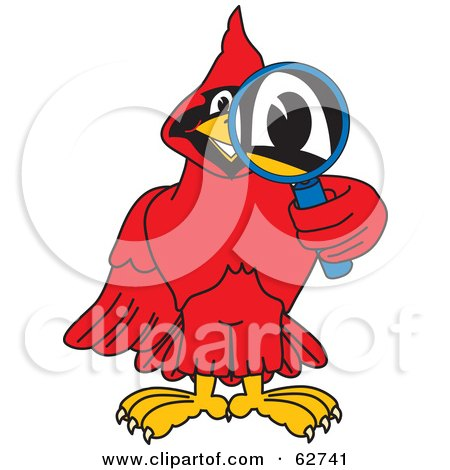 Royalty-Free (RF) Clipart Illustration of a Red Cardinal Character School Mascot Using a Magnifying Glass by Toons4Biz