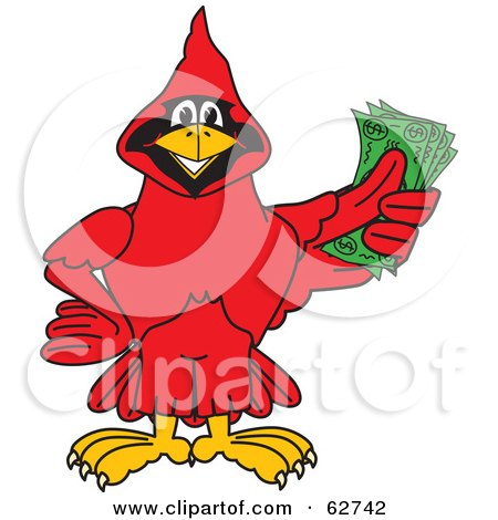 Royalty-Free (RF) Clipart Illustration of a Red Cardinal Character School Mascot Holding Cash by Toons4Biz