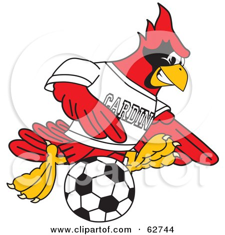 Royalty-Free (RF) Clipart Illustration of a Red Cardinal Character School Mascot Kicking a Soccer Ball by Toons4Biz