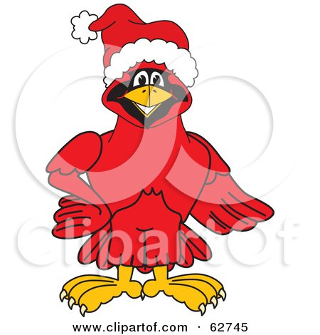 Royalty-Free (RF) Clipart Illustration of a Red Cardinal Character School Mascot Wearing a Santa Hat by Toons4Biz