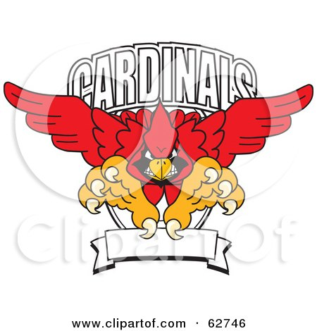 Royalty-Free (RF) Clipart Illustration of a Red Cardinals Character School Mascot Logo by Toons4Biz
