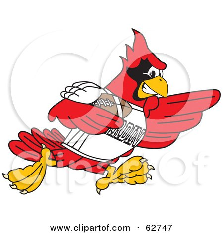 Royalty-Free (RF) Clipart Illustration of a Red Cardinal Character School Mascot Playing Football by Toons4Biz