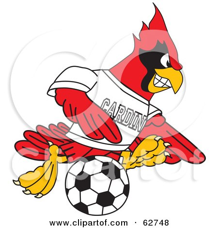 Royalty-Free (RF) Clipart Illustration of a Red Cardinal Character School Mascot Playing Soccer by Toons4Biz