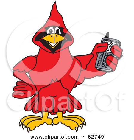 Royalty-Free (RF) Clipart Illustration of a Red Cardinal Character School Mascot Holding a Cell Phone by Toons4Biz