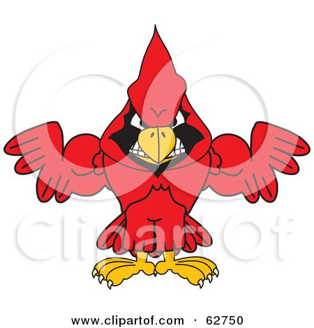 Royalty-Free (RF) Clipart Illustration of a Red Cardinal Character School Mascot With Strong Arms by Toons4Biz