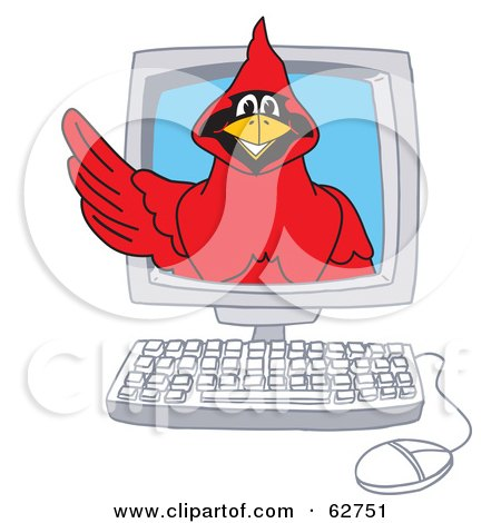 Royalty-Free (RF) Clipart Illustration of a Red Cardinal Character School Mascot in a Computer by Toons4Biz