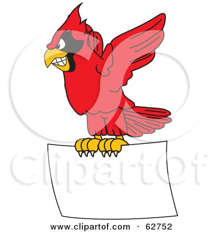 Royalty-Free (RF) Clipart Illustration of a Red Cardinal Character School Mascot Flying With a Blank Sign by Toons4Biz