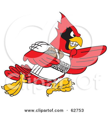 Royalty-Free (RF) Clipart Illustration of a Red Cardinal Character School Mascot Playing American Football by Toons4Biz