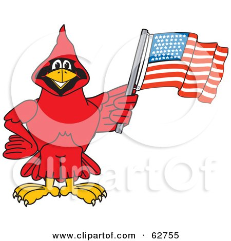 Royalty-Free (RF) Clipart Illustration of a Red Cardinal Character School Mascot With an American Flag by Toons4Biz