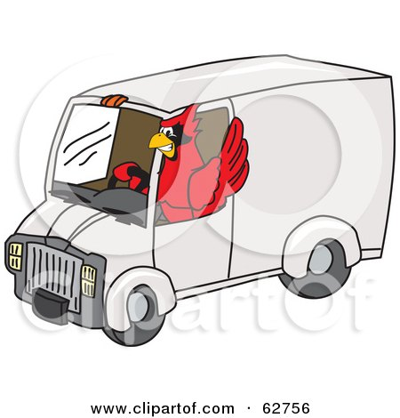 Royalty-Free (RF) Clipart Illustration of a Red Cardinal Character School Mascot Driving a Delivery Van by Toons4Biz