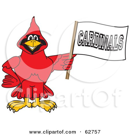 Royalty-Free (RF) Clipart Illustration of a Red Cardinal Character School Mascot Holding a Banner by Toons4Biz
