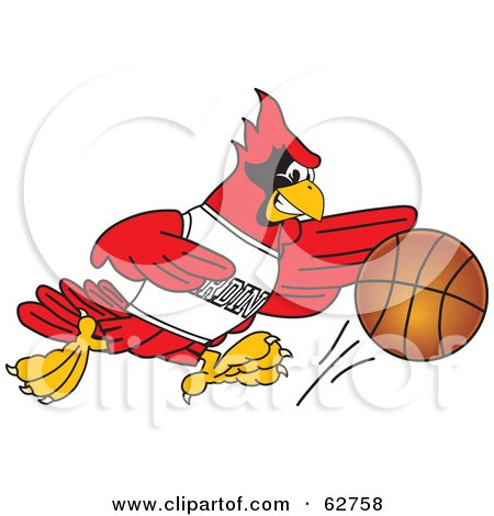 Royalty-Free (RF) Clipart Illustration of a Red Cardinal Character School Mascot Playing Basketball by Toons4Biz