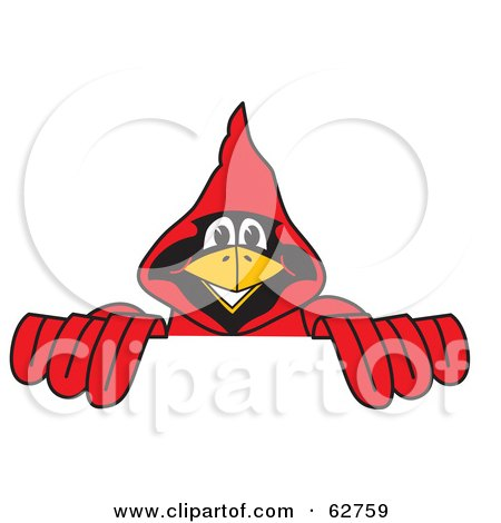 Royalty-Free (RF) Clipart Illustration of a Red Cardinal Character School Mascot Behind a Blank Sign by Toons4Biz