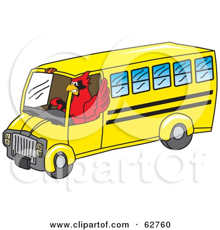 Royalty-Free (RF) Clipart Illustration of a Red Cardinal Character School Mascot Driving a Bus by Toons4Biz