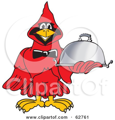 Royalty-Free (RF) Clipart Illustration of a Red Cardinal Character School Mascot Serving Food by Toons4Biz