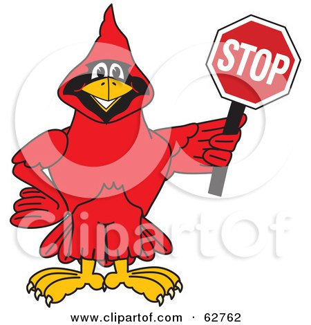 Royalty-Free (RF) Clipart Illustration of a Red Cardinal Character School Mascot Holding a Stop Sign by Toons4Biz