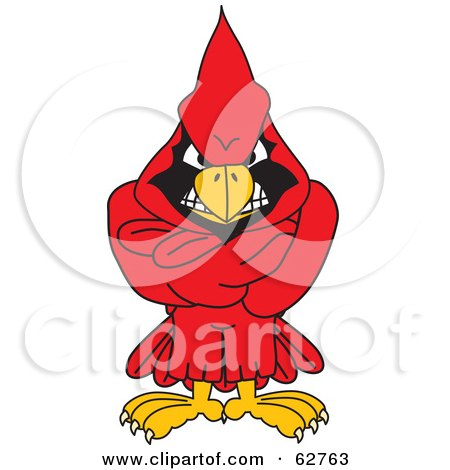 Royalty-Free (RF) Clipart Illustration of a Red Cardinal Character School Mascot With His Arms Crossed by Toons4Biz