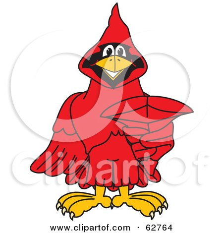 Royalty-Free (RF) Clipart Illustration of a Red Cardinal Character School Mascot Pointing Outwards by Toons4Biz