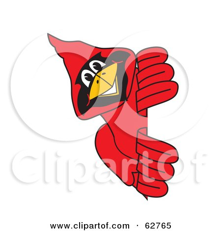 Royalty-Free (RF) Clipart Illustration of a Red Cardinal Character School Mascot Looking Around a Sign by Toons4Biz