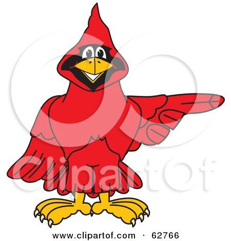 Royalty-Free (RF) Clipart Illustration of a Red Cardinal Character School Mascot Pointing Right by Toons4Biz