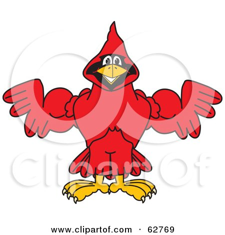 Royalty-Free (RF) Clipart Illustration of a Red Cardinal Character School Mascot Flexing by Toons4Biz