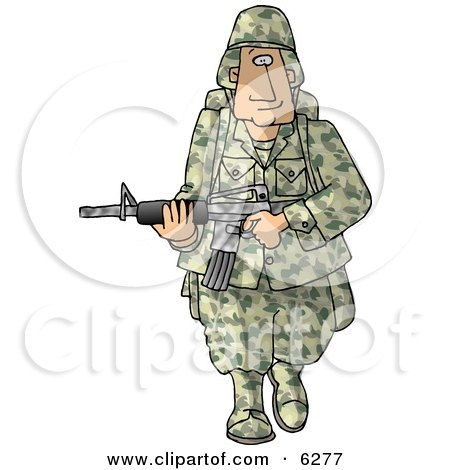 Army Soldier Armed with a Machine Gun - Royalty-free Clipart Picture by djart