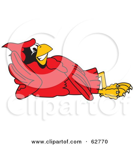 Royalty-Free (RF) Clipart Illustration of a Red Cardinal Character School Mascot Reclined by Toons4Biz