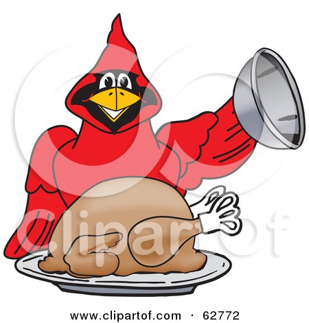 Royalty-Free (RF) Clipart Illustration of a Red Cardinal Character School Mascot Serving a Thanksgiving Turkey by Toons4Biz