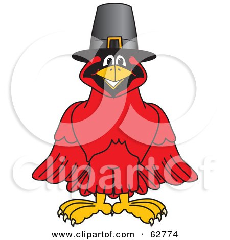 Royalty-Free (RF) Clipart Illustration of a Red Cardinal Character School Mascot Wearing a Pilgrim Hat by Toons4Biz
