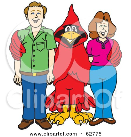 Royalty-Free (RF) Clipart Illustration of a Red Cardinal Character School Mascot With Teachers or Parents by Toons4Biz