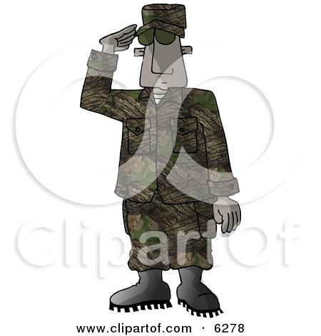 U.S. Marine Delivering a Salute - Royalty-free Clipart Picture by djart