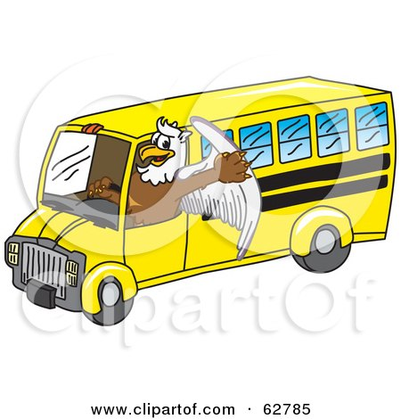 Royalty-Free (RF) Clipart Illustration of a Griffin Character School Mascot Driving a Bus by Toons4Biz