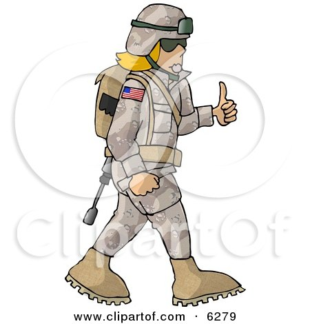 Army Woman Giving Thumbs-up - Royalty-free Clipart Picture by djart