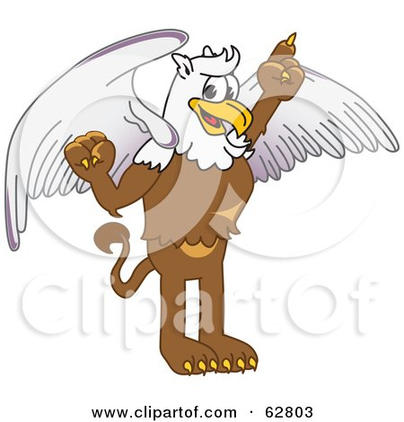 Royalty-Free (RF) Clipart Illustration of a Griffin Character School Mascot Pointing Up by Toons4Biz