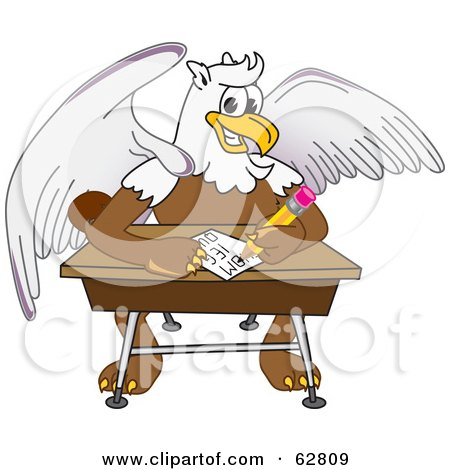 Royalty-Free (RF) Clipart Illustration of a Griffin Character School Mascot Doing Homework at a Desk by Toons4Biz