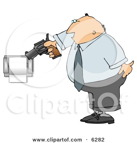 Mad Man Pointing a Gun at Toilet Paper Roll Clipart Picture by djart