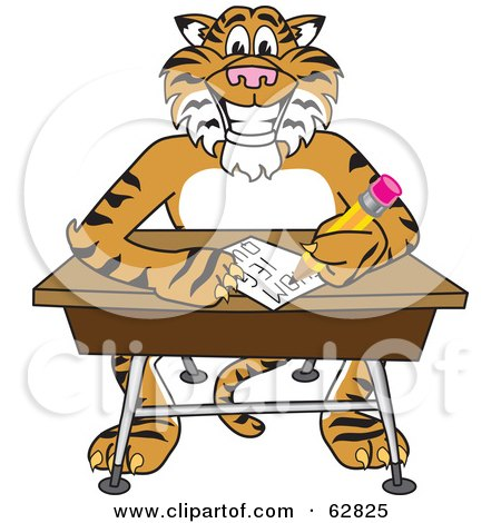 Royalty-Free (RF) Clipart Illustration of a Tiger Character School Mascot Doing Homework at a Desk by Toons4Biz