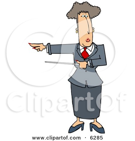 Executive Woman Pointing a Pointer Stick Towards Her Right Clipart Picture by djart