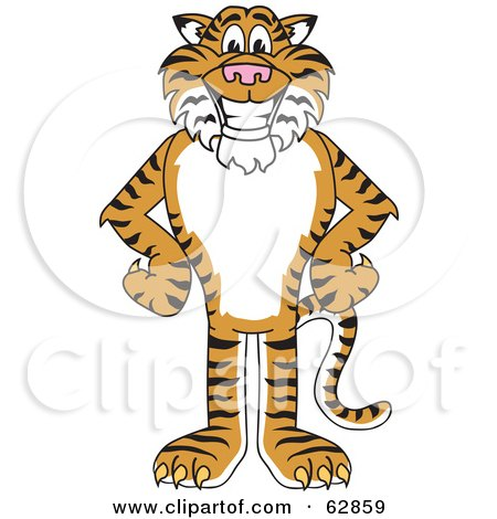 Royalty-Free (RF) Clipart Illustration of a Tiger Character School Mascot With His Hands on His Hips by Toons4Biz