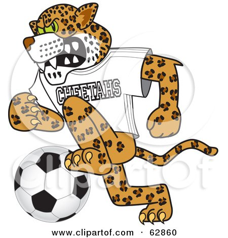 Royalty-Free (RF) Clipart Illustration of a Cheetah Character School Mascot Playing Soccer by Toons4Biz