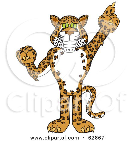 Royalty-Free (RF) Clipart Illustration of a Cheetah, Jaguar or Leopard Character School Mascot Pointing Up by Toons4Biz