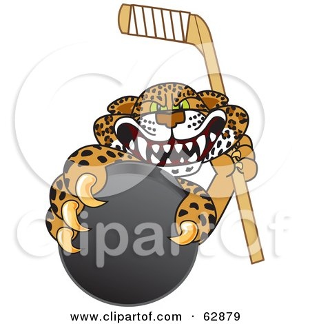 Royalty-Free (RF) Clipart Illustration of a Cheetah, Jaguar or Leopard Character School Mascot Grabbing a Hockey Puck by Toons4Biz