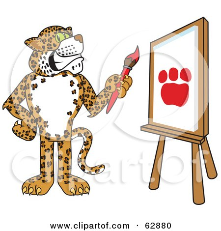 Royalty-Free (RF) Clipart Illustration of a Cheetah, Jaguar or Leopard Character School Mascot Painting a Paw Print by Toons4Biz